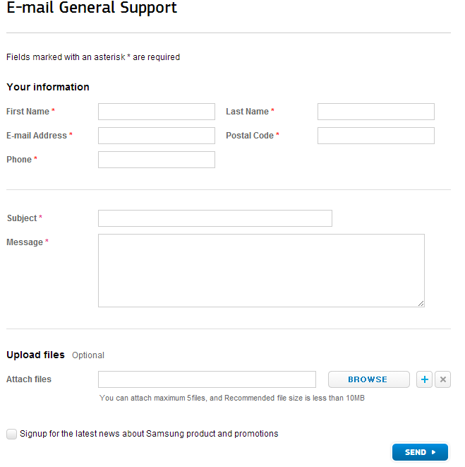 E mail-General-Support - SAMSUNG