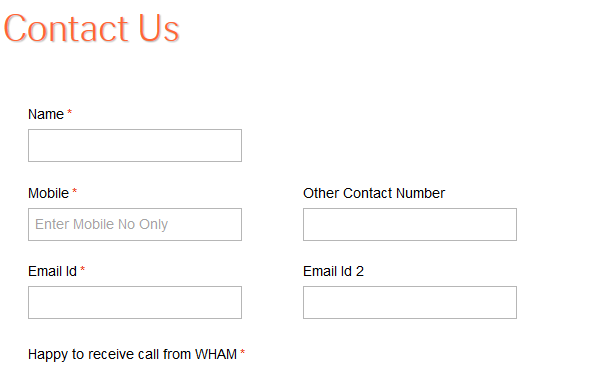 Wham - Contact - Form